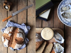 Soda bread, oysters and stout
